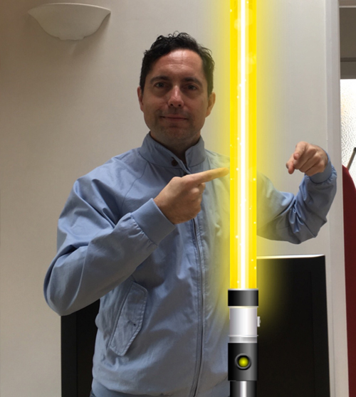 Paul Giddings with a light sabre