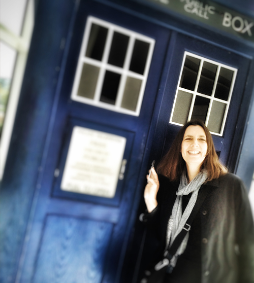 Roz Howe standing by Tardis